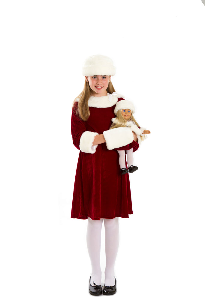 Matching Doll and Girl Xmas Dress with Hat And Muff