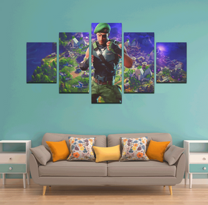 Fortnite Character Garrison Canvas Framed Wall Art