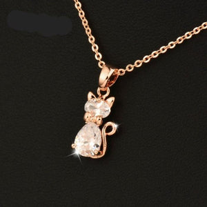 Cat Pendant Rose Gold Plated
