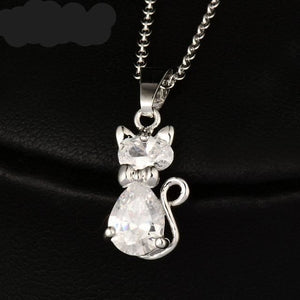 Cat Pendant White Gold Plated