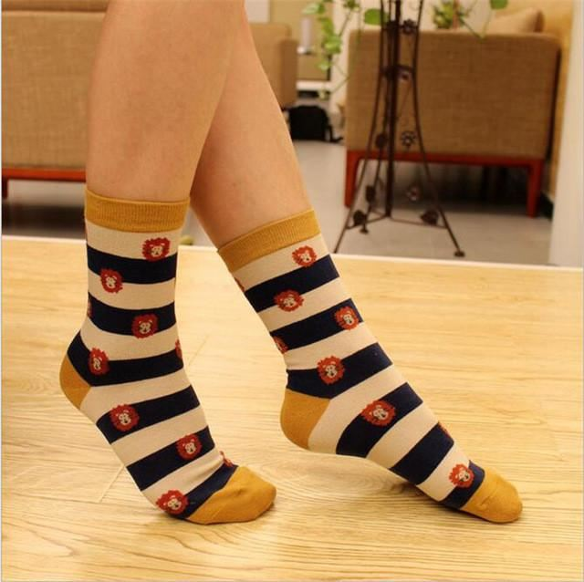 Colorful Happy Socks Strip Lion / One Size