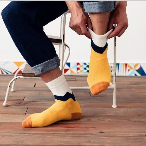 Colorful Happy Socks Yellow And White / One Size