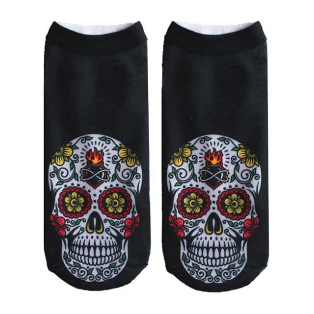 Crazy Printed Skull Socks Image 2