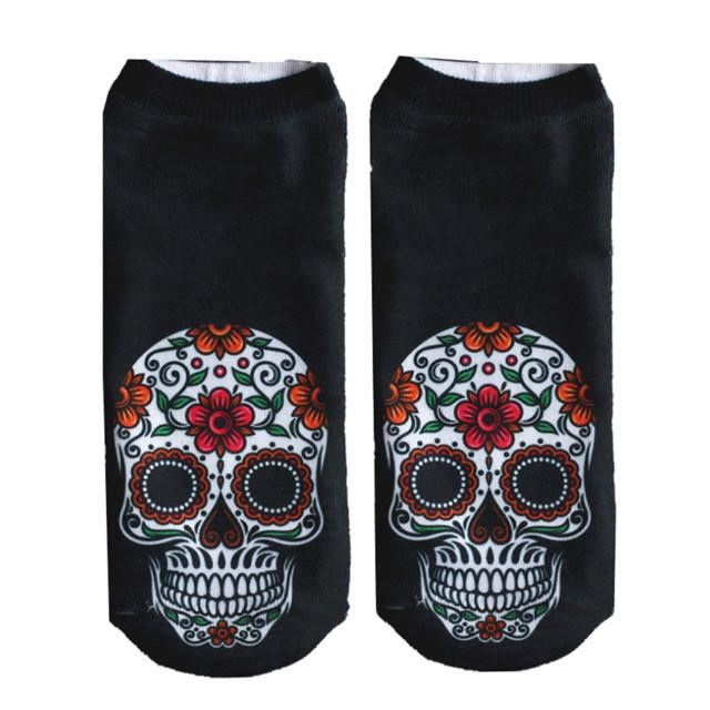 Crazy Printed Skull Socks Image 3