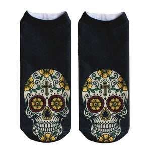Crazy Printed Skull Socks Image 4