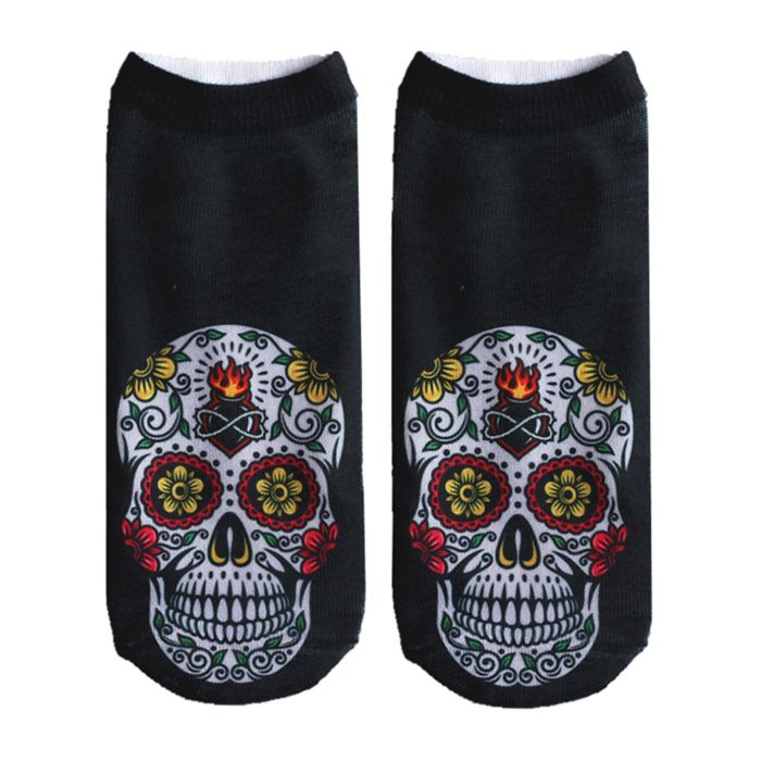 Crazy Printed Skull Socks