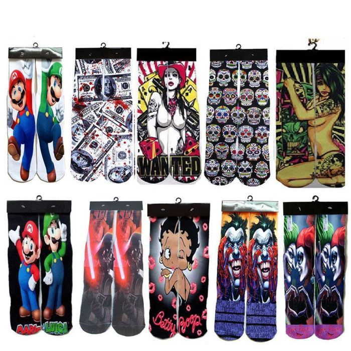 Crazy Superhero Print Socks