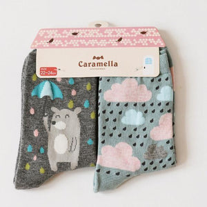 Cute Animal Pattern Socks - 2 Pairs