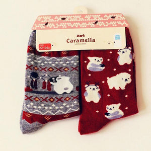 Cute Animal Pattern Socks - 2 Pairs Image 9 / China Free Size