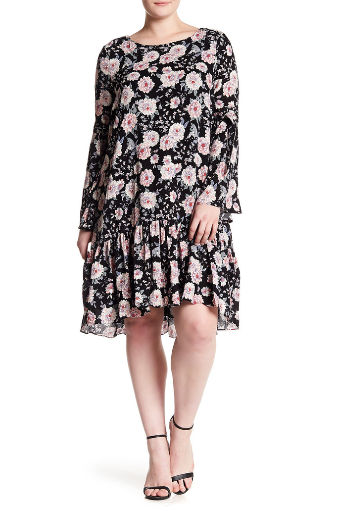 Floral Long Sleeve Drop Waist Dress Plus Size Rsonline
