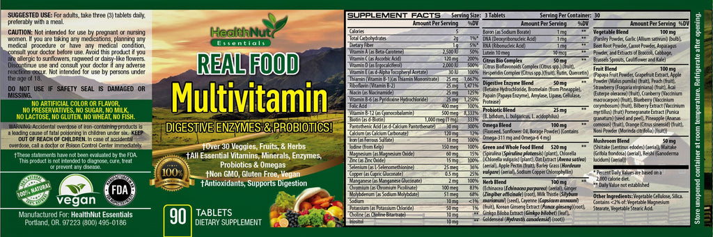 Vegan non-gmo multivitamin superfood