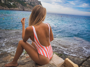 striped coral one piece