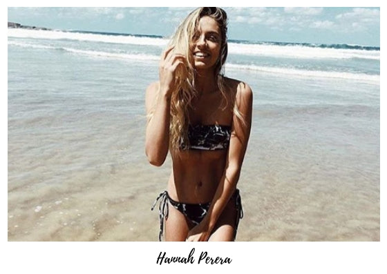 hannah perera wears black and white marble bandeau seamless bikini