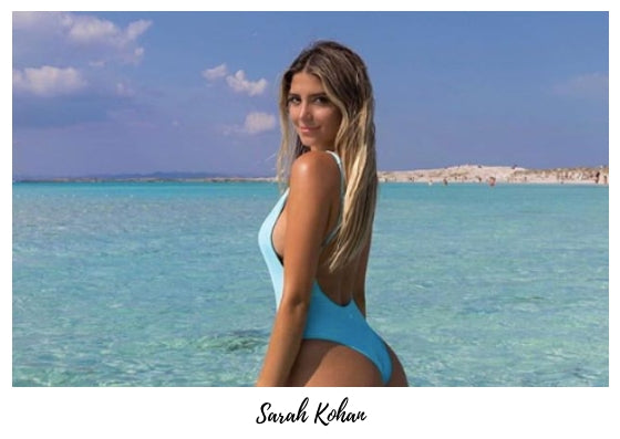Sarah Kohan wears our turquoise one piece from our ocean to ocean collection made using sustainable italian fabric