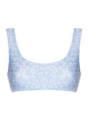 Camille Top - Teal / Sky Blue Leopard Print