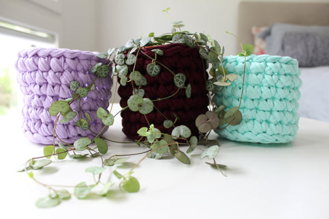 Crochet Basket Planter - READY MADE