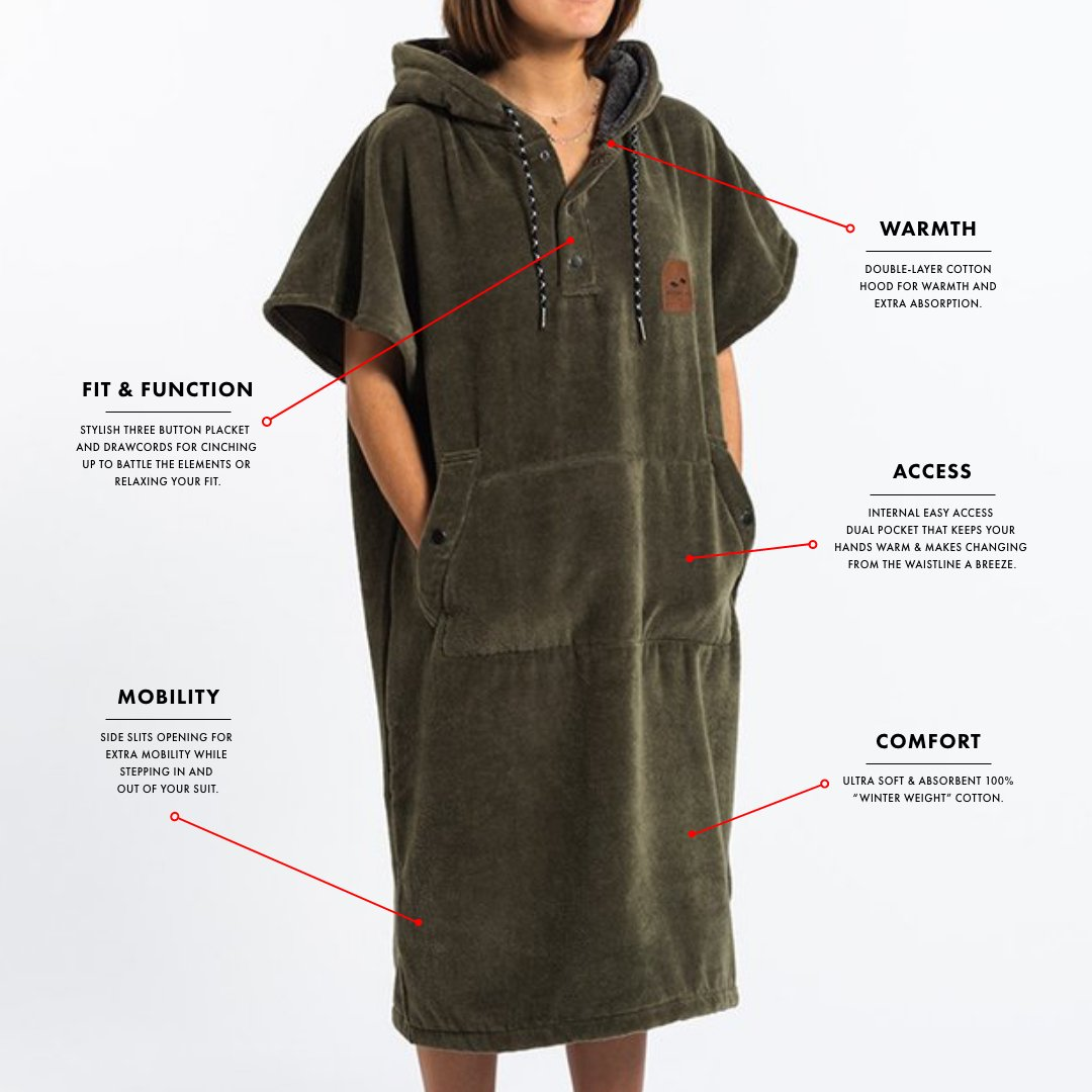 The Digs Changing Poncho - Green - S/M