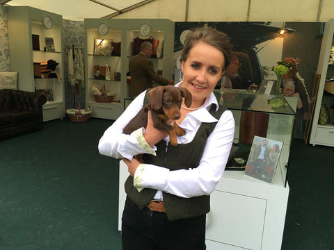 Englana® Brand Ambassador with Dog on Stand at Hickstead