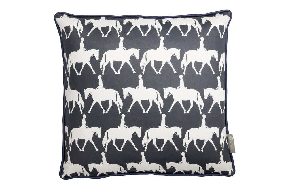 Horse scatter cushion in navy. Luxury-home-furnishing, good-house-keeping-cushions, Modern- red-cushions, farmhouse-style-cushions.