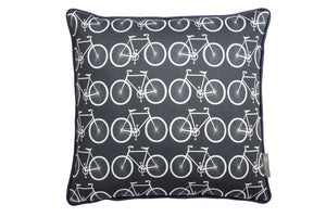 bike scatter cushion in bold navy blue