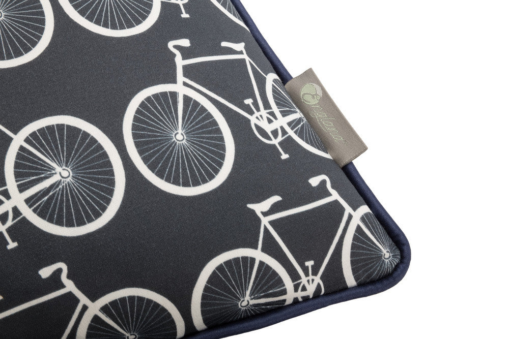 bike scatter cushion in bold navy