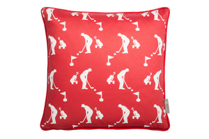 golf design scatter cushion in red . Luxury-home-furnishing, good-house-keeping-cushions, Modern- red-cushions, farmhouse-style-cushions.