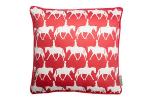 Horse scatter cushion in red . Luxury-home-furnishing, good-house-keeping-cushions, Modern- red-cushions, farmhouse-style-cushions.