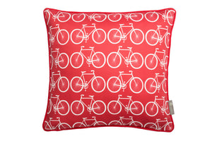 red-duck-feather-cushion, red-cotton-throw-cushion, cushion-with-bikes.
