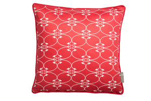 Fishing design scatter cushion in red . Luxury-home-furnishing, good-house-keeping-cushions, Modern- red-cushions, farmhouse-style-cushions.