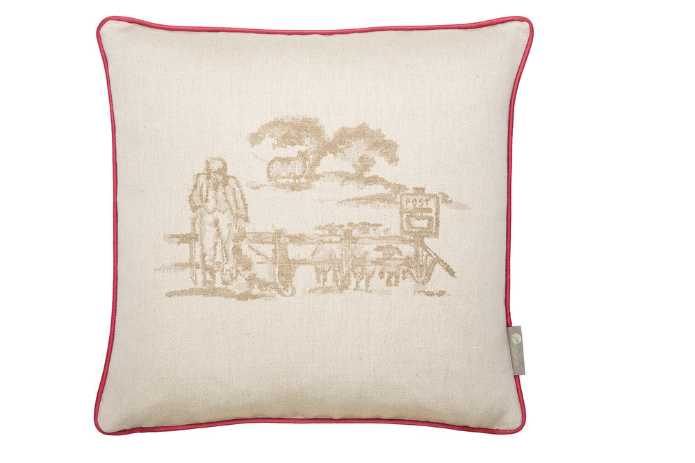 farm house style cushions. Luxury cushions woven good house keeping. red