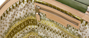 The inside of Englana blanket bag The Albert  in Green  and cream. Luxury leather blanket / travel rug bag. Quality British gift. Wedding gift, luxury leather goods.