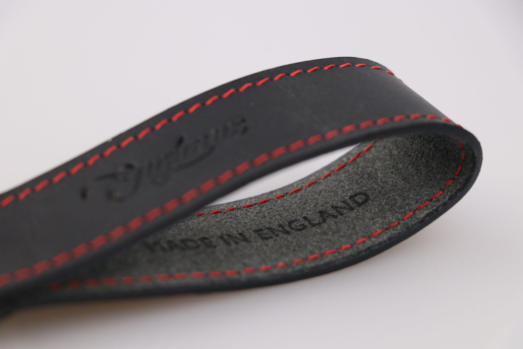 designer keyring in black and red. British made leather gift. Gifts for him.