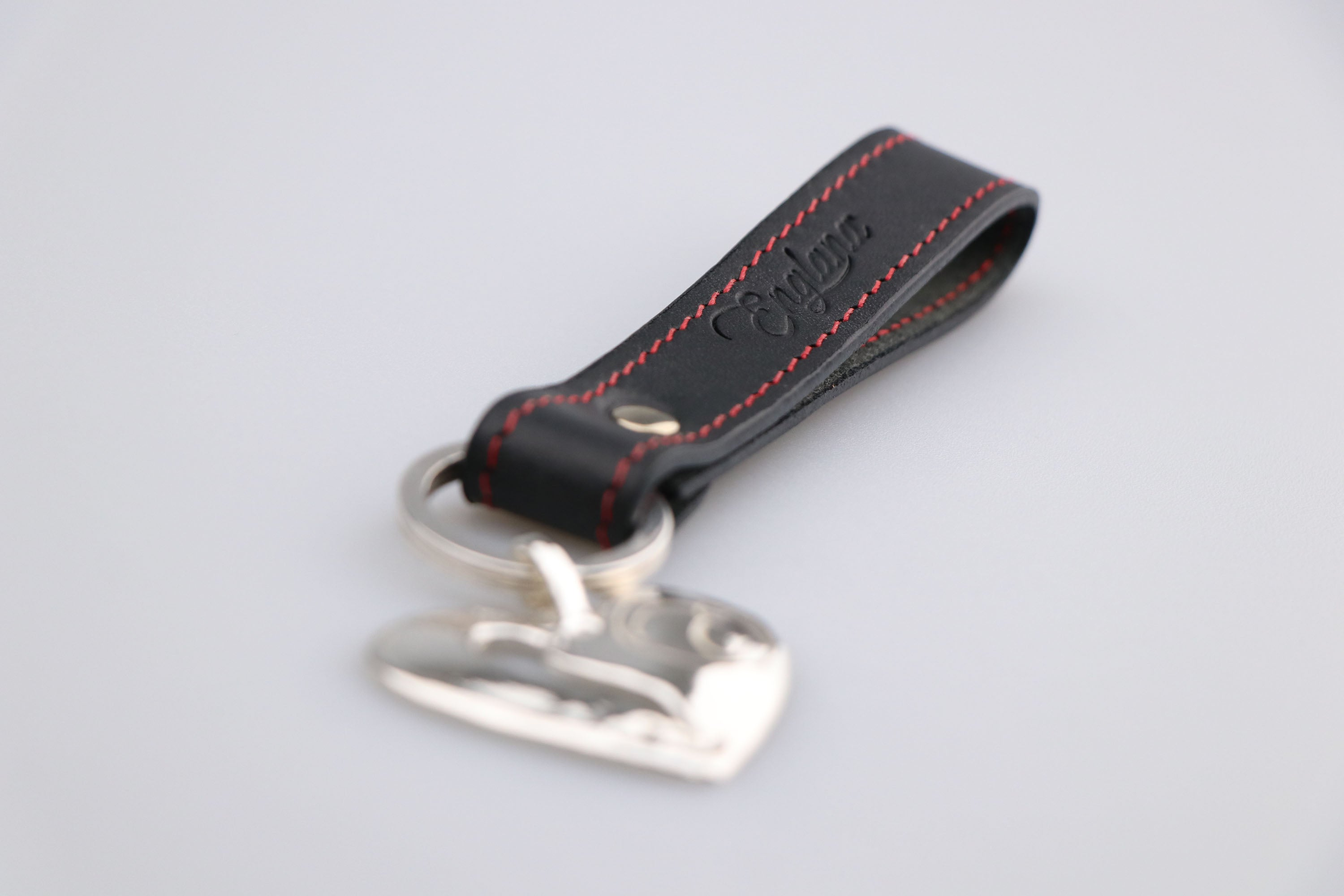 black leather key ring. Keyring with embossing initials as valentines gift. British luxury leather