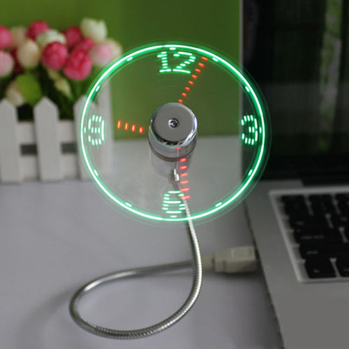 USB Mini Flexible Time LED Clock Fan with LED Light