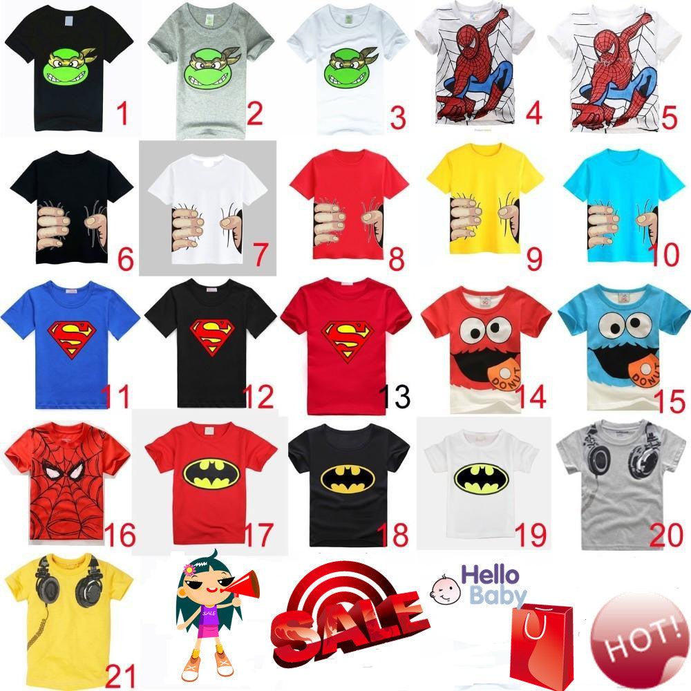 Boys Girls Short Sleeve T-shirts 100% Cotton