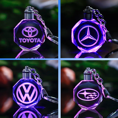Customized Car Logo Keychain Laser Engraved Crystal Keyring Styling Keychain with Colorful LED Light Souvenir Gift Drop Shipping