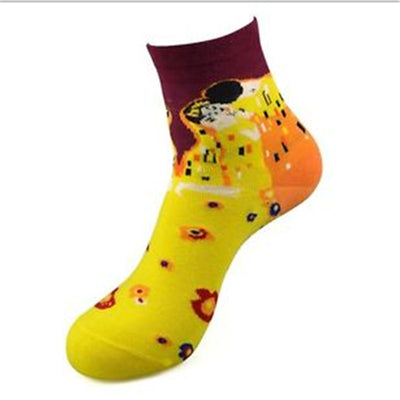 Fashion Art Cotton Crew Socks Painting Character Pattern for Women Men