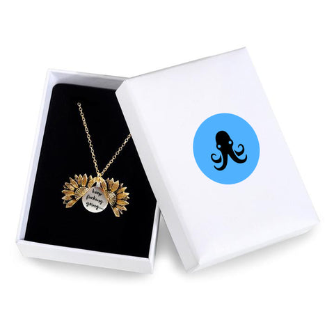 """KEEP FUCKING GOING""- SUNFLOWER NECKLACE + FREE GIFT BOX"