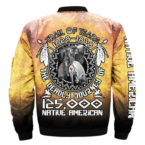 NATIVE AMERICAN OVER PRINT BOMBER JACKET