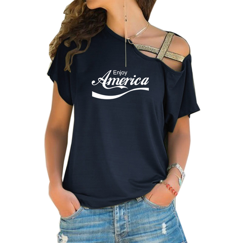 Enjoy America Cross Shoulder T-shirt