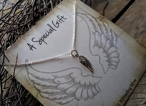 Angel Wings Pendant Necklace Sterling Silver 925 Cable Chain