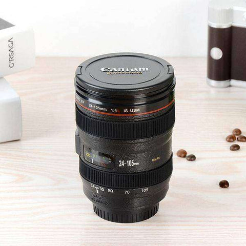 Self-Stirring Camera Lens Mug