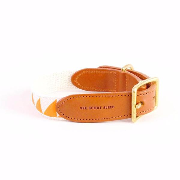 See Scout Sleep Nice Grill Leather Dog Collar | Tangerine x Cream - FURRPLAY