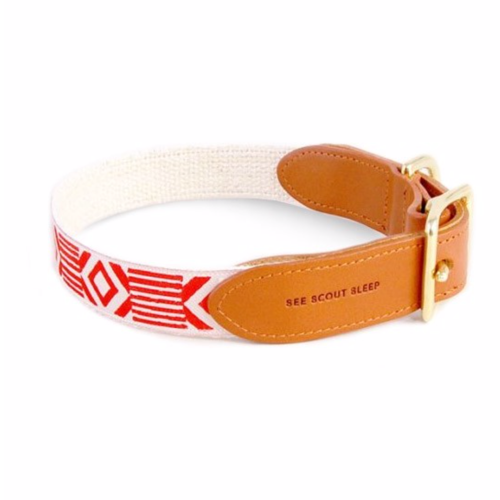 See Scout Sleep Out Of My Box Leather Dog Collar | Red - FURRPLAY