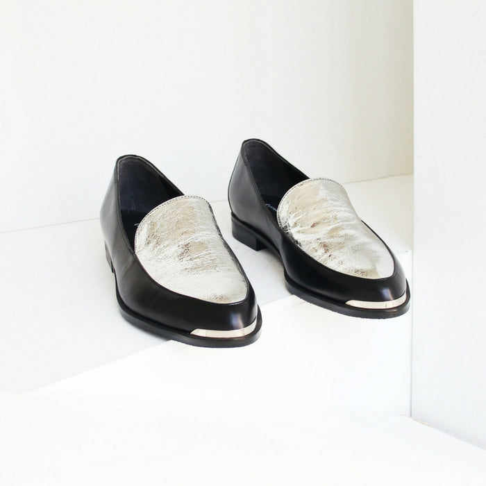 EOD | Persia Panelled Leather Loafers | BLACK/SILVER