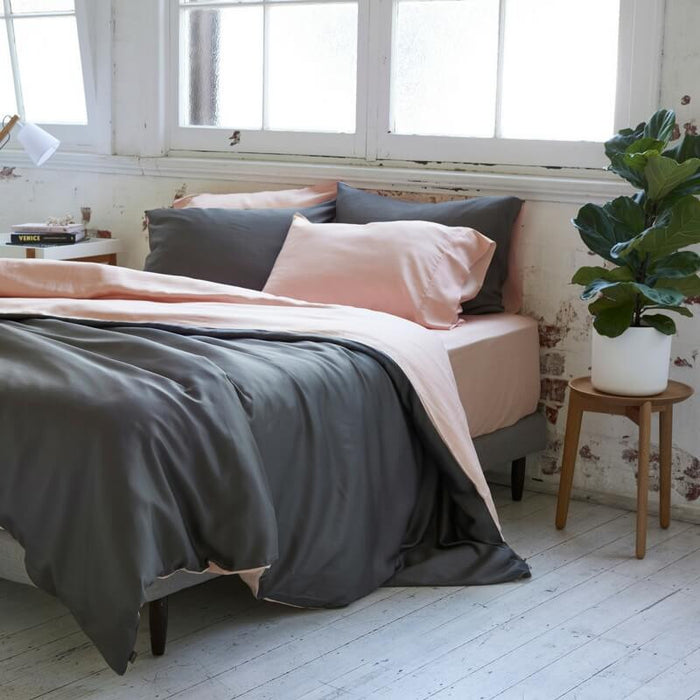 Ettitude | Frankie Duvet Cover Set | Cloud Pink / Grey