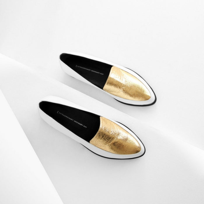 EOD | Persia Panelled Leather Loafers | WHITE/GOLD
