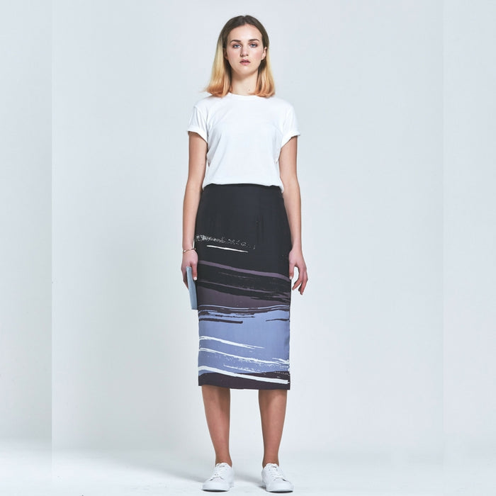 CLÈMENCE |  Premium Silk Abstract Print Pencil Skirt
