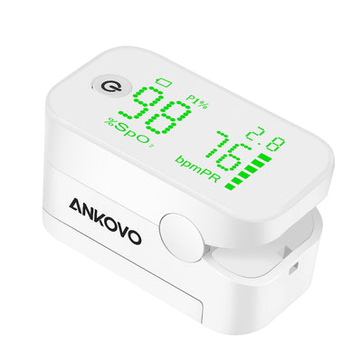 ANKOVO Pulse Oximeter Fingertip Oxygen Monitor with Perfusion Index Blood Oxygen Saturation Monitor Portable with Lanyard and Batteries - ankovo.com