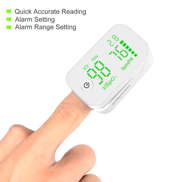 ANKOVO Pulse Oximeter Fingertip Oxygen Monitor with Perfusion Index Blood  Oxygen Saturation Monitor Portable with Lanyard and Batteries